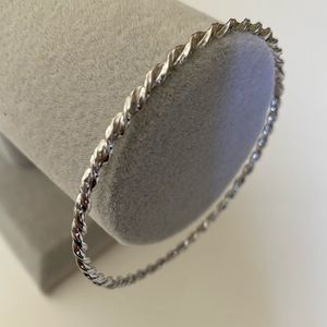 Silver handmade 64 mm twisted rope bangle rhodium